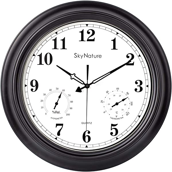 Large Outdoor Clock 18 Inch Waterproof Clock With Temperature And Humidity Combo Silent Battery Operated Vintage Clock For Living Room Patio Garden Pool Decor Metal Matte Black