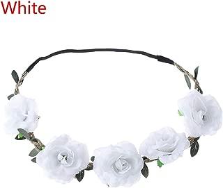 Luccaful Women Bohemian Flower Headband Handmade Floral Crown Headband Party Wedding Wreath Bridal Headdress Elastic Hair Accessories,white
