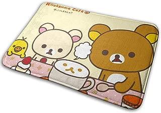MasakoJMassie Rilakkuma Square Flannel Carpet Bath Mat Non Slip Pattern Rugs Thick Soft (15.7