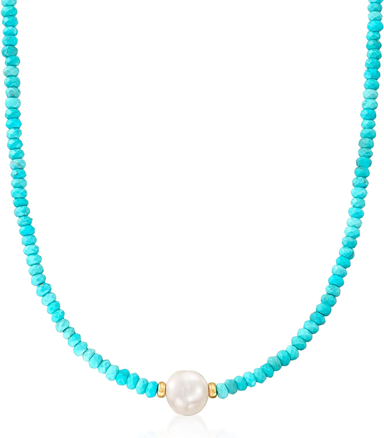 Ross-Simons 11.5-12.5mm Cultured Pearl and 4-5mm Turquoise Bead Necklace With 14kt Yellow Gold