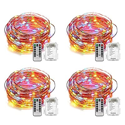 YIHONG 4 Set Fairy Lights Battery Operated 8 Modes 50 LED Fairy String Lights