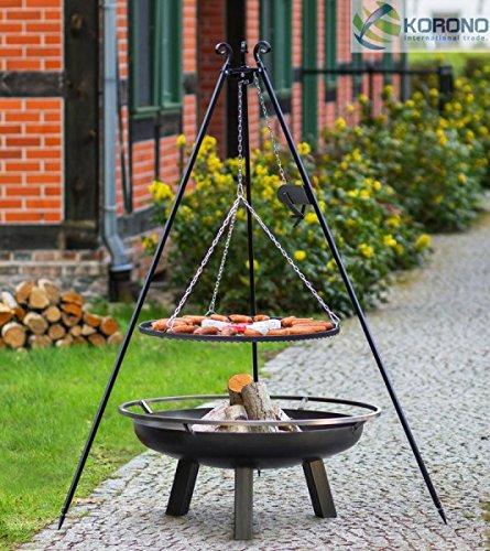 Korono 2 in 1 Schwenk Grill Dreibein 180 cm Rost 70 cm & Feuerschale 80 cm - stilvolles Grillen & gemütliches Feuer