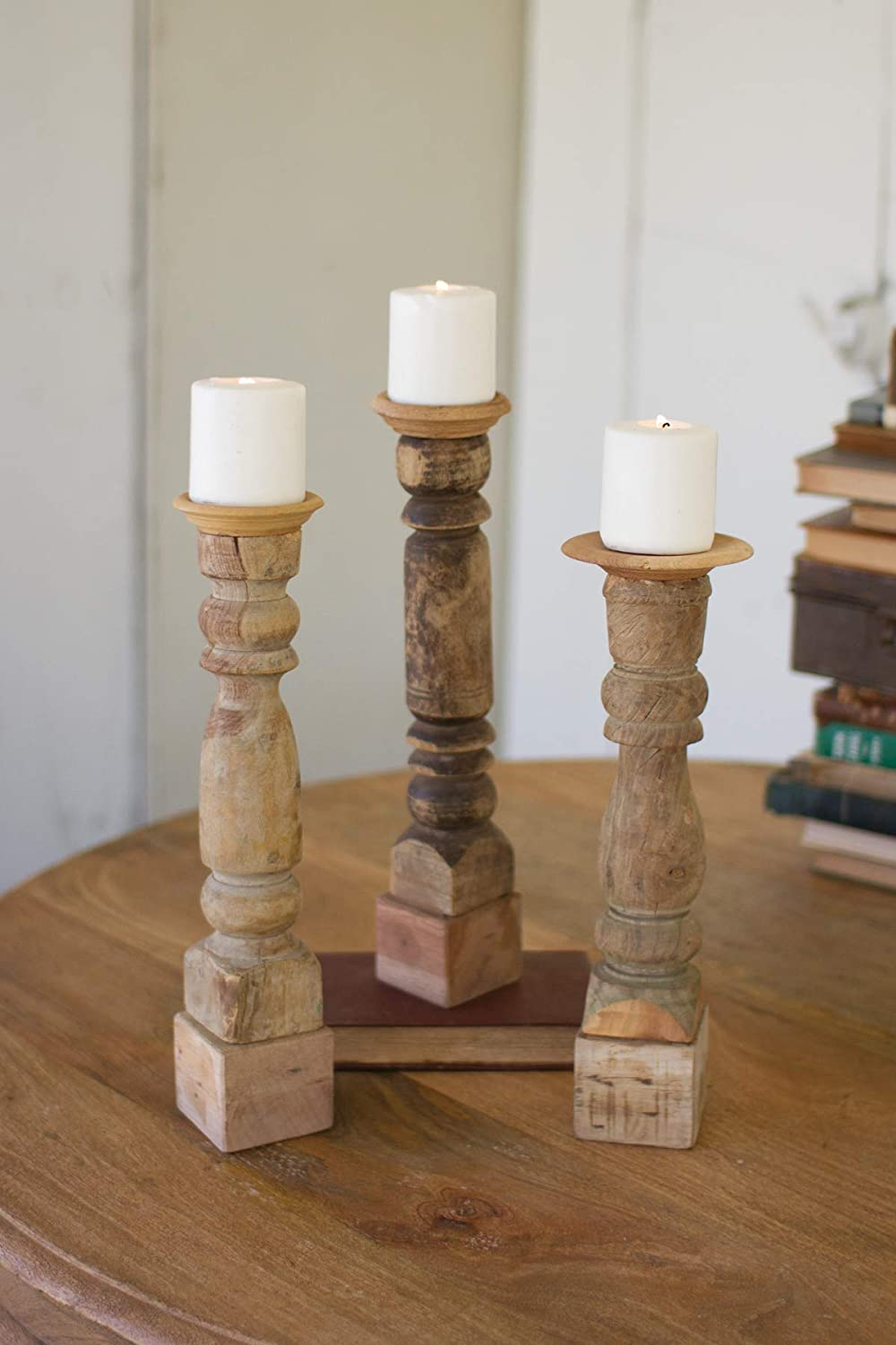 KALALOU Cheap SALE Start Assorted 5 ☆ popular Set of Reclaimed Holders Candle Banister Wooden