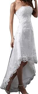 High Low Wedding Dress Strapless Lace Bridal Beach Dress 2326