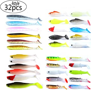 East Rain 4 Type Soft Plastic Bait for Fishing Lure Artificial Swimbait for All Kinds of Fishing Rigs(Mutlicolor,Multi-size,assorted packing)