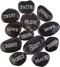 PMLAND Inspirational Bulk Faith Black Stones (12 Different Words- Large 2-3 inches)