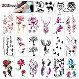 Konsait Tatouage temporaire pour adulte enfants femme homme (20 feuilles) Tattoos Étanche Tatouages...