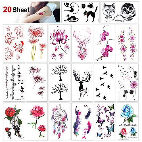 Konsait Tatuajes temporales para Adultos Mujer Niños, 20 Hojas-Rose Peony Flower Diente de León, Gato, Ciervo, Pluma, Mariposa, Impermeable Tatuajes Adhesivos Mujer Flash Tatoos Tatuaje Falso