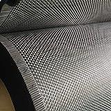 HuoPu Tessuto in Tessuto di Fibra di Carbonio Nero 200g 50X200cm 3K Tinta Unita - Pacchetto Tubo