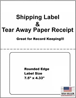 ProLine Labels for Click Ship PayPal / eBay compatible with USPS Labels with Paper Receipts for Laser /Ink Jet Shipping! Built in Tear Off Receipts! (Integrated Labels) (500 Sheets)