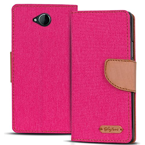 Verco Lumia 650 Hülle, Schutzhülle für Microsoft Lumia 650 Tasche Denim Textil Book Hülle Flip Hülle - Klapphülle Pink