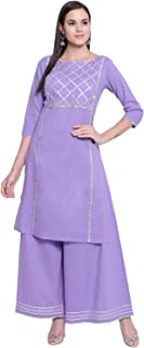 Fabnest Women's Lilac Straight Kurta And Sharara Set With Silver Gota Accents