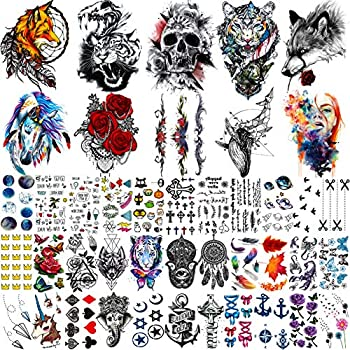 EGMBGM 43 Sheets Large Armband Tiger Skull Temporary Tattoos For Women Men Watercolor Star Planet Butterfly Flowers Fake Tattoos For Girls Kids Tattoo Temporary Arm Face Hand Finger Neck Tatoo Sticker