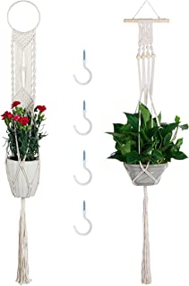 Macrame Plant Hangers, Vaincre 2 Set Hanging Planter with 4 Hooks, 43.3 Inch Wall Art Boho Home Decor (2, Cream White)