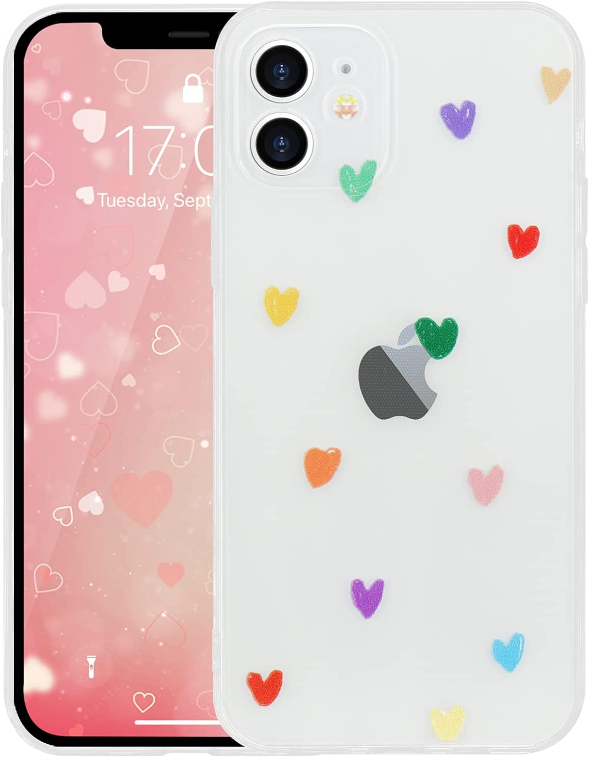 Urarssa Compatible with iPhone 12 Case Cute Love Heart Pattern Crystal Clear Transparent Design for Women Girls Soft TPU Bumper Shockproof Protective Cover for iPhone 12 6.1 inch, Solid Heart