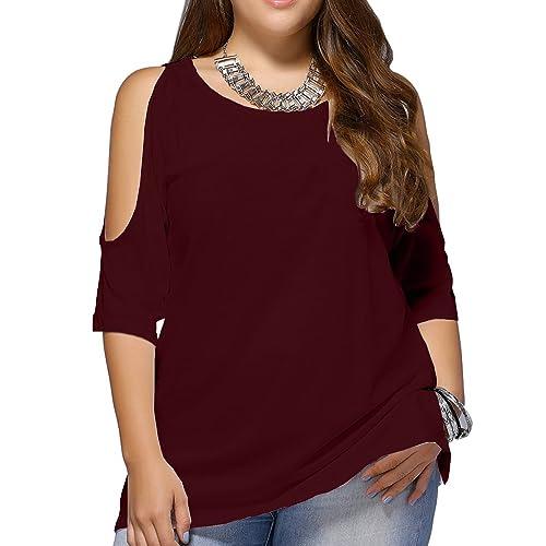 de8ba32b4c1e4 Allegrace Women Plus Size Cold Shoulder T Shirt Short Sleeve Fashion Top  Blouse