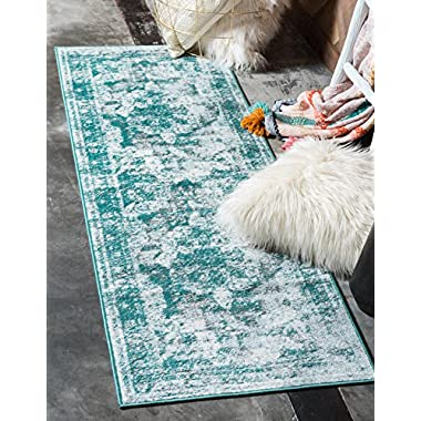 Unique Loom Monaco Collection Traditional Vintage Turquoise Home Décor Runner Rug (2' x 7')