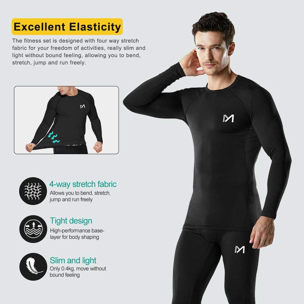 Sport Fitness Long Johns Mens Base Layer Underwear Set Cool Gear Quick Dry Long Sleeve Compression Shirt and Pants