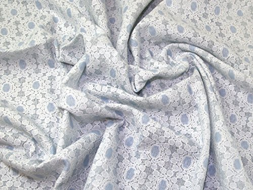 Minerva Crafts Floral Bonded wendbar Spitze Kleid Stoff blau & und cremefarben–Meterware