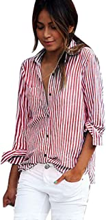 Long Sleeve Tops Womens, TOPUNDER Sexy Stripe Blouse Long Sleeve Shirt Loose Shirts Tops