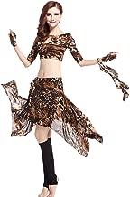 ZLTdream Leopard Belly dance Costume Short top & Skirt Tassel Hip Scarf