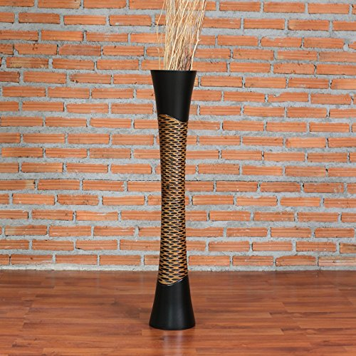 Leewadee Große Bodenvase für Dekozweige hohe Standvase Design Holzvase 90 cm, Mangoholz, braun schwarz