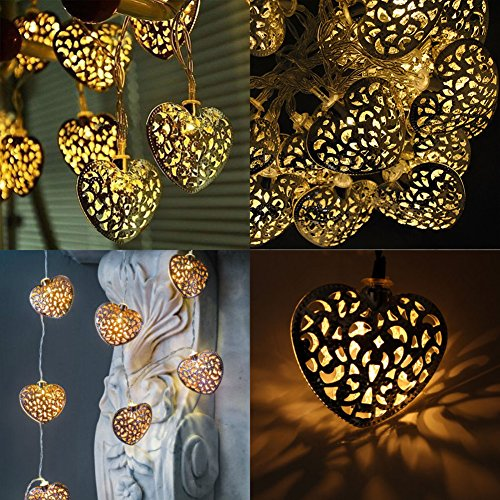 20x Metal Moroccan Warm White LED Heart Fairy String Lights Battery Operated, Indoor/Outdoor Bedroom Kitchen Hallway Garden Lighting (20 LED Silver)