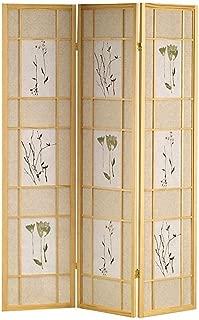 Legacy Decor 3 Panel Floral Accented Screen Room Divider, Natural Wood Frame, Printed Shoji Paper