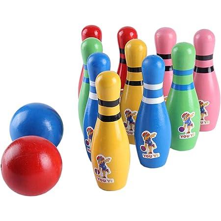 Ogquaton Jeu de quilles de bowling en bois de qualit/é sup/érieure pour enfants