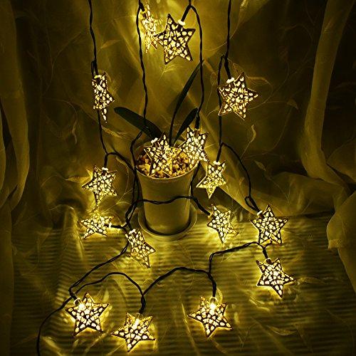Solar LED Star String Lights 12ft 20LED Decoration Light for Garden, Yard, Home, Landscape Festival Halloween Christmas Party Wedding Tree (Five-Point Star Warm-White)