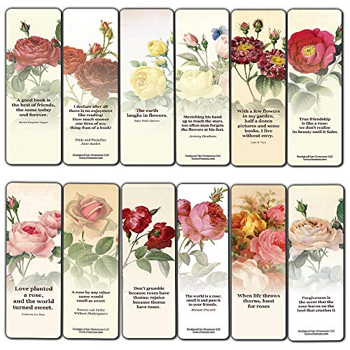 Creanoso Vintage Rose Flowers Bookmarks (12-Pack) - Awesome Book Markers for Men, Women, Adults – Premium Design Gifts for Bookworms – Business Gifts – Bookmarker Cards for Bookworms