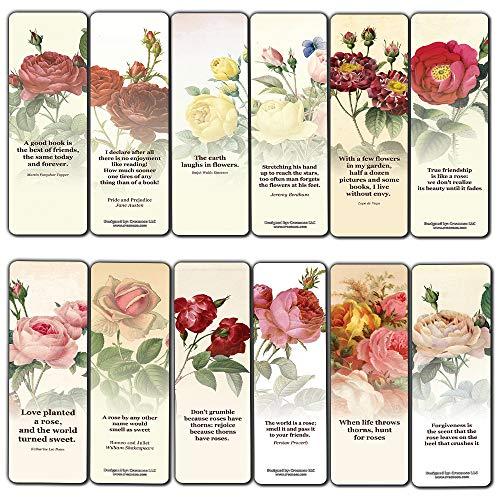 Creanoso Vintage Rose Flowers Bookmarks for Women (60-Pack) – Inspiring Inspirational Sayings Bookmarker Cards – Premium Gift Set for Art Bookworms Men & Women, Adults – Employee Rewards Incentives