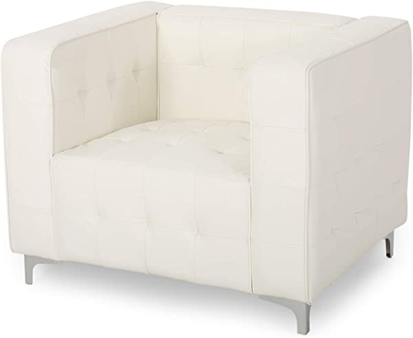Laura Modern Glam Leather Cube Club Chair White And Chrome