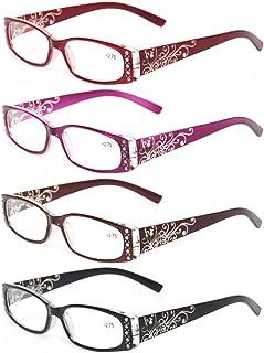 Kerecsen Women's 4 Pairs Ladies Reading Glasses Spring Hinge With Laser Pattern Readers