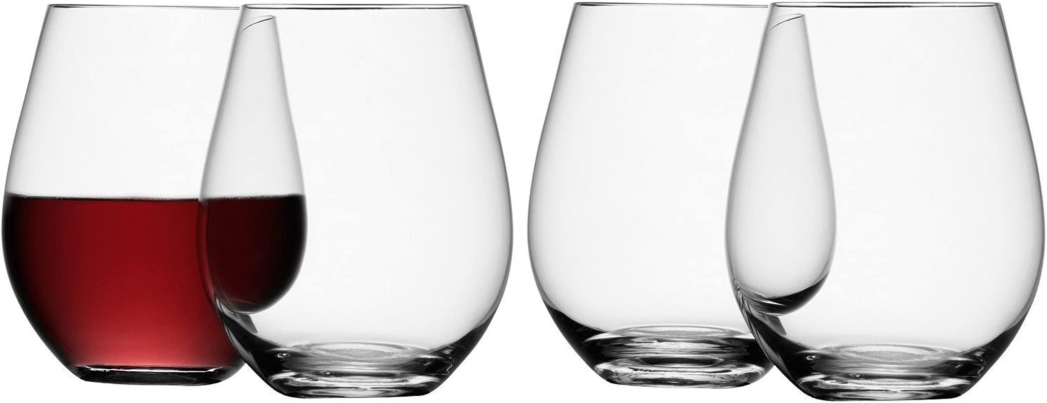 LSA International Stemless Red Wine Glass 4 Pack 17 8 Fl Oz Clear