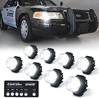 Xprite 8 Series LED Hideaway Strobe Lights Kit 20 Flash Patterns Hazard Warning Light for Trucks, Police Cars, Emergency Vehicles