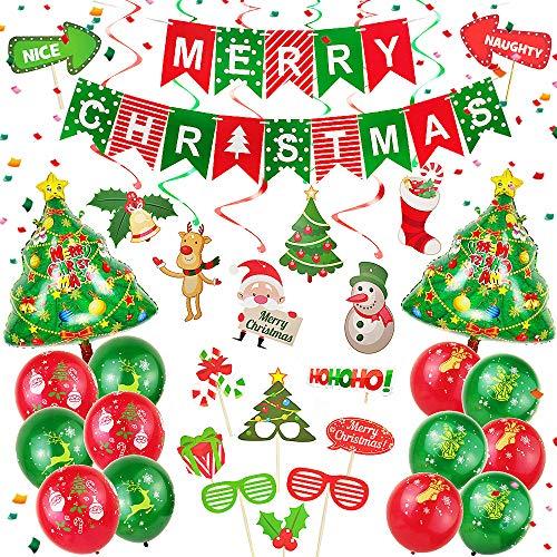 JeVenis Set de 48 Merry Christmas Banner Christmas Party Photo Booth Props Decoración de la fiesta de Navidad Globos de Navidad Navidad