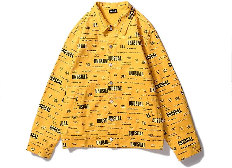 9ef07232476 MUMUWU Men's Hip Hop Street OVERSIZE Loose Loose Loose long Multi-letter  Printed Denim Jacket fa9d92