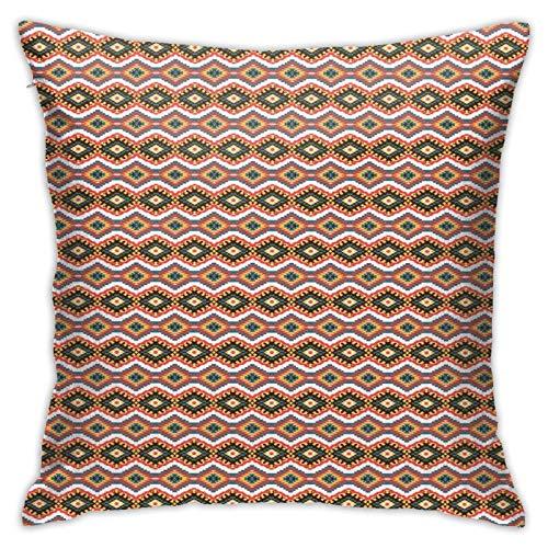 DHNKW Kissenbezug Kissenbezug ,Aztec American Traditional Pattern Cultural Style Folk Geometric Shapes Print ,18 x 18 Zoll