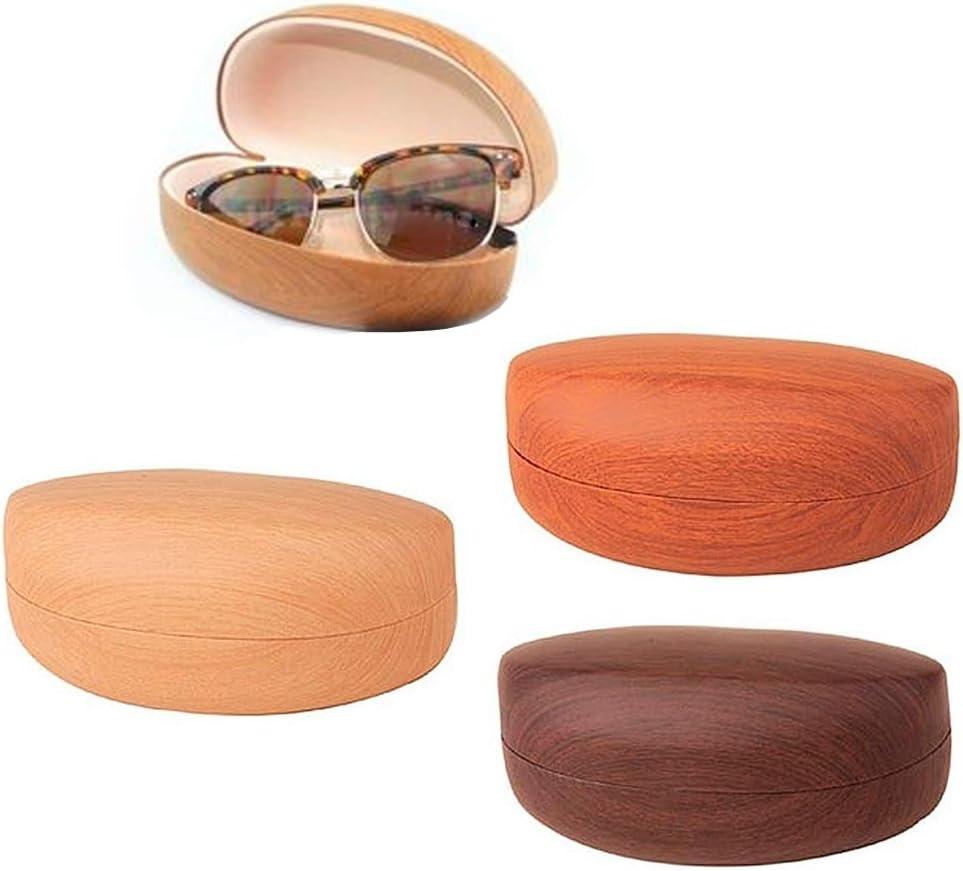 1 Large Hard Sunglasses Case Wooden Design Eye Glasses Portable Wood Clam Shell