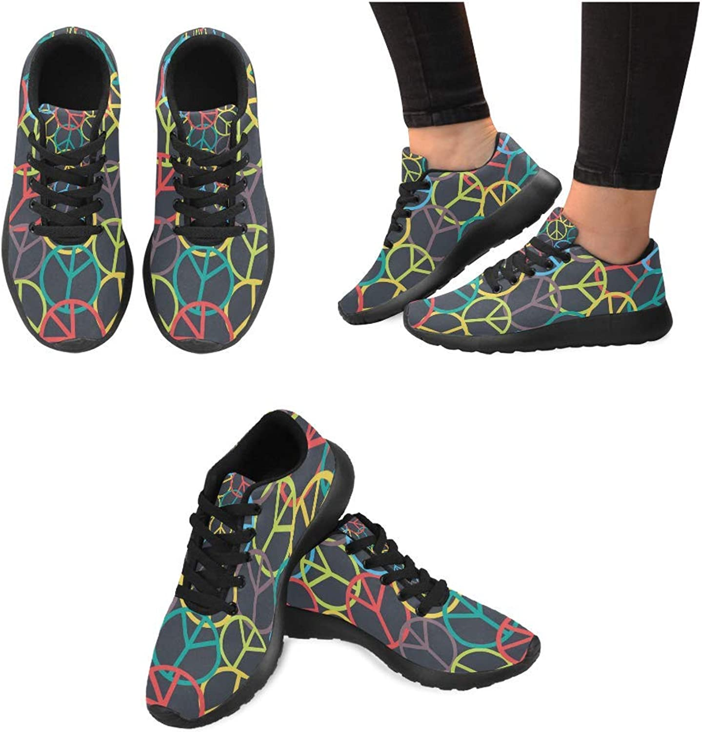 Women Lightweight Casual Sneaker Running shoes colorful Peace Sign Prints