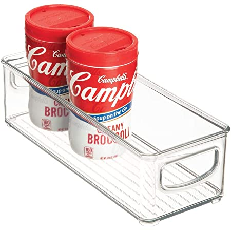 iDesign bac rangement frigo, petite boîte alimentaire en plastique, boîte conservation alimentaire à poignées, transparent