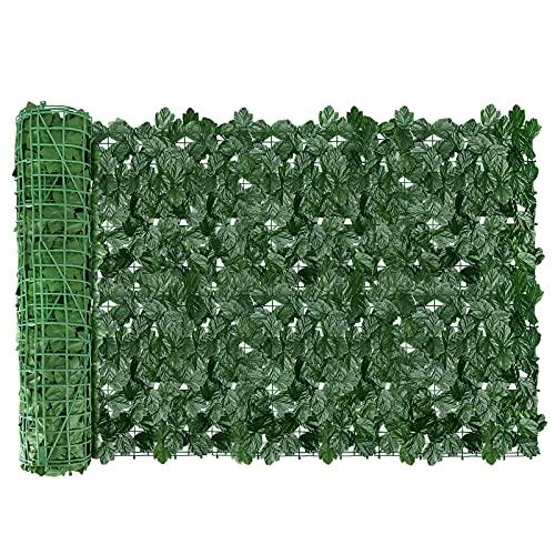 AGJIDSO Siepe Artificiale per Balconi, 1x3m Siepe Finta Foglie Edera, Siepe Artificiale Rotolo per Recinzione, Ringhiera (Foglia di acero)