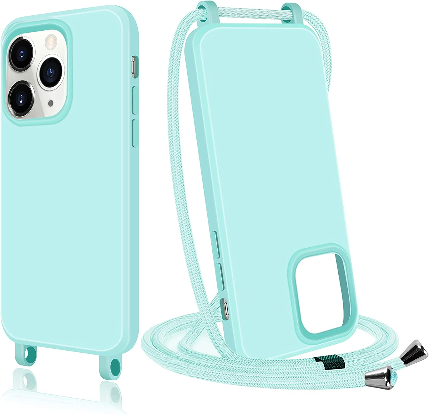 Qoosea Compatible with iPhone 13 Pro Max Case 6.7inch with Lanyard Soft Cover for iPhone 13 Pro Max 6.7'' Green