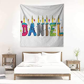 Willsd Daniel Living Room Square Tapestry Grooving Cheerful Male Name with Happy Occasion Birthday Theme Bite Marked Cake Occlusion Cloth Painting 70W x 70L INCH Multicolor