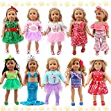 POKONBOY 18 Inch Doll Clothes and Accessories - 10 Sets Girl Doll Clothes Dress for American 18 Inch Doll - Including Clothes with Hair Bands, Hair Clips, Crown and Cap for Girls