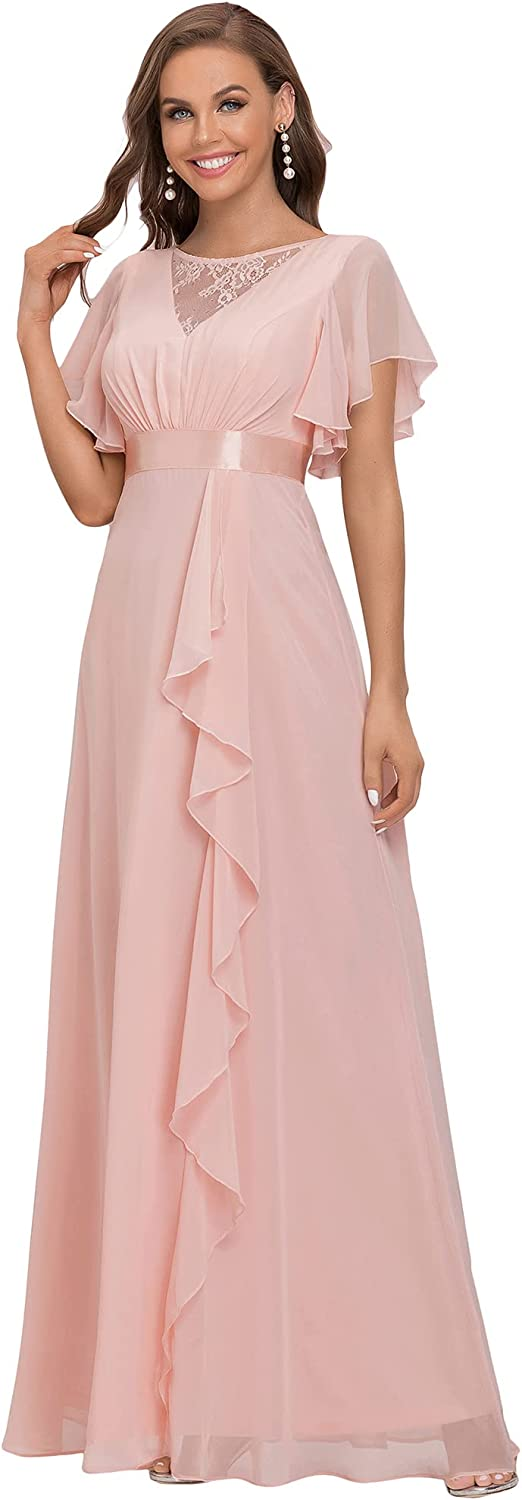 Ever-Pretty Women's Illusion A-line Chiffon Bridesmaid Dresses with Short Sleeves 80008