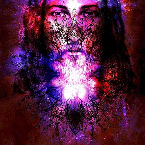 DIY 5D Kits de Pintura de Diamantes Misterio religioso púrpura Taladro Completo Redondo Diamantes de imitación Imagen Bordado de Punto de Cruz para el hogar Decoración de la Pared Regalo 40x40cm W3410