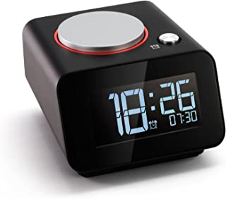Homtime Bedside Alarm Clocks with Dual USB Charging Port for Bedroom Small Alarm Clock Snooze Dimmable Black(with AC Adapter)
