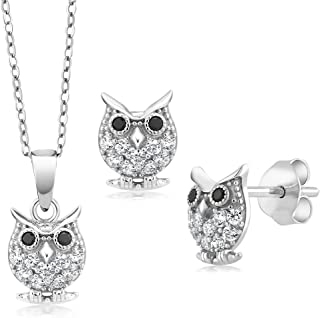 925 Sterling Silver Owl Pendant Earrings Set With 18 Inch Chain Set with Zirconia from Swarovski